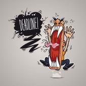 Angry Boss Screaming Deadline. — Stock Vector