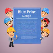 Builders Presenting Blue Print Poster — Stock Vector
