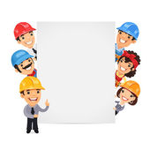 Builders Presenting Empty Vertical Banner — Stock Vector