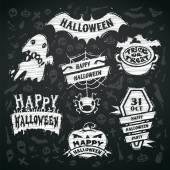 Chalk Vector Halloween Labels on Blackboard Background — Stock Vector