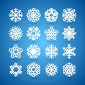 Simple Flat Snowflakes Set for Winter and Christmas Desing — Vettoriale Stock