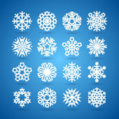 Simple Flat Snowflakes Set for Winter and Christmas Desing — Stok Vektör
