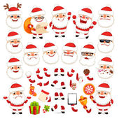 Set of Cartoon Santa Claus for Your Christmas Design or Animation — Stock Vector