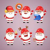 Set of Cartoon Santa Claus Builders — Stock Vector