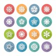 Set of Simple Round Snowflakes Icons for Christmas Design — Stock Vector #57579145