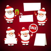 Set of Cartoon Santa Clauses Holding a White Empty Banners — Stock Vector