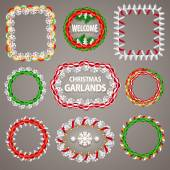 Christmas Paper Garlands Frames with a Copy Space Set — Stock Vector