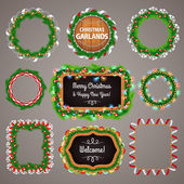 Christmas Garlands Frames and Blackboard with a Copy Space Set — Stock Vector