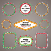 Christmas Beads Garlands Frames with a Copy Space Set — Stock Vector