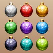 Set of Christmas Balls with Glitter — Wektor stockowy