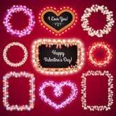 Valentines Lights Frames with a Copy Space Set4 — Stock Vector