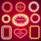 Valentines Lights Frames with a Copy Space Set1 — Stock Vector