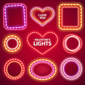 Valentines Neon Lights Frames with a Copy Space Set2 — Stock Vector