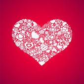 White Heart on Pink Background — Stockvector