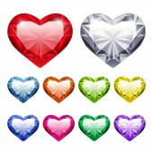 Vector Gem Hearts Set — Stock Vector