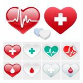 Vector Medical Set of Hearts Icons — Stock Vector