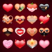 Set of Vector Sex Hearts Icons — Stock Vector