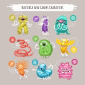 Bacteria and Germs Characters Set — Stock Vector