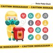 Caution Biohazard Icons and Doctor with Red Container — Stock Vector #66910741