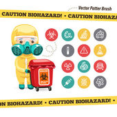 Caution Biohazard Icons and Doctor with Red Container — Stock Vector