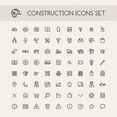 Set of Round Line Construction Icons — Stock Vector