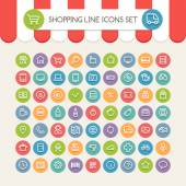 Shopping Line Round Icons Set — Stock Vector