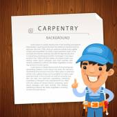 Carpentry Background with Workman — Stock Vector