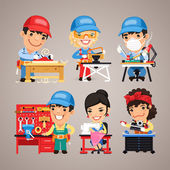 Set of Cartoon Workers at their Work Desks — Stock Vector
