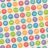 Color Tilted Seamless Pattern with Food Icons — Vector de stock
