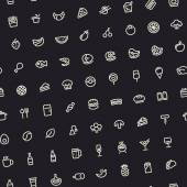Dark Tilted Seamless Pattern with Light Food Icons — Stock Vector