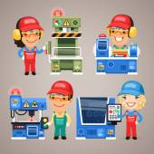 Set of Cartoon Workers Working on the Factory Machines — Stock Vector