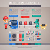 Industry Infographic Set with Factory Conveyor and Robot Arm — Stock Vector