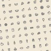 Light Tilted Seamless Pattern with Dark Food Icons — Stock Vector