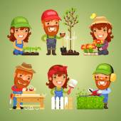 Farmers at Spring Work Set — Stock Vector