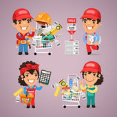 Workers Purchases Materials in DIY for Repair of Apartment — Stock Vector