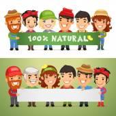Farmers Presenting Horizontal Banner — Stock Vector