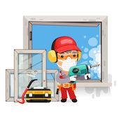 Dismantling the Old Window — Stock Vector