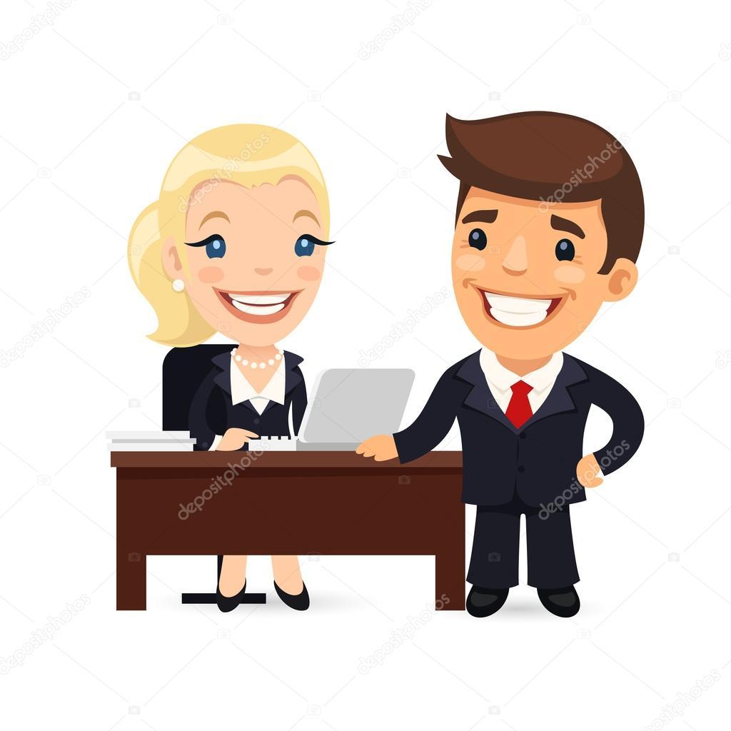 jefe y secretaria planificaci n d a h bil vector de