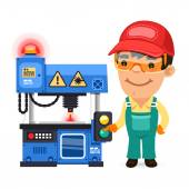 Factory Worker is Working on Laser Plotter — Stock Vector