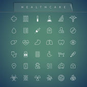 Healthcare Thin Icons Set — Stock Vector