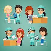 Women Having Medical Consultation in Doctors Office — Stock Vector