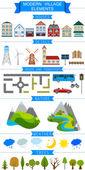 Elementy współczesnej wioski lub miasta. — Wektor stockowy