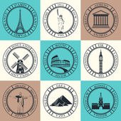 Set of stickers and icons travels famous cities in the world. — Stock Vector