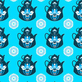 Seamless pattern of pots and flowers on an isolated blue background. — Vector de stock