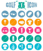Colorful icons on of golf — Stock Vector