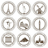 Set of Vector Icons. Travel and Sightseeing. — Stock Vector