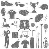 Vector icons and symbols of golf — Stock Vector