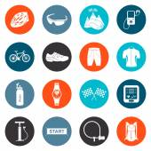 Vector Set of Icons about Cycling — Vecteur