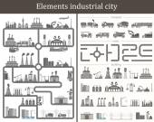 Vector set of elements the industrial city. Design your own city — Stock Vector