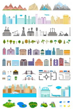 Elements of the modern city and village - stock vector